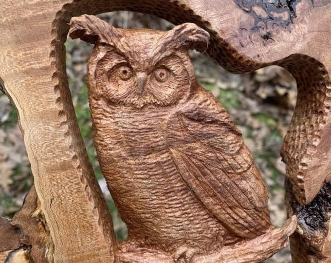 SALE New Year Owl Wood Carving, Hand Carved Wood Art, Maple Burl, Owl Sculpture, by Josh Carte, Log Home Decor, Made in Ohio