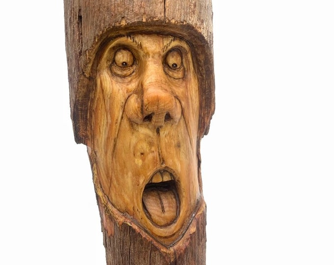Wood Spirit Carving, Wood Wall Art, Carving of a Face, Wood Carving, Unique Wood Art, by Josh Carte, Handmade Woodworking, Expression Art