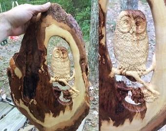SUMMER SALE Barred Owl Tree Scene, Wood Carving, Wood Sculpture by Josh Carte, Handmade Woodworking, Birthday Gift, Anniversary Gift, Heirlo
