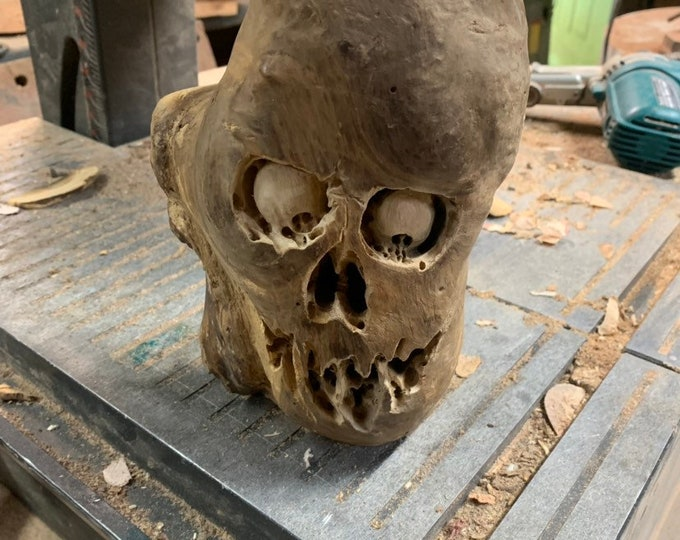 Wood Carving, Skull Wood Art, Hand Carved Wood Art, Macabre Style sculpture, by Josh Carte, Made in Ohio, Dark Art Carving