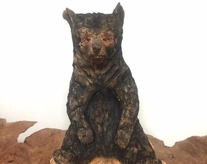 SUMMER SALE Bear Chainsaw Carving, Carved Bear, Bear Wood Carving, by Josh Carte, Made in Ohio, Carving of a Bear