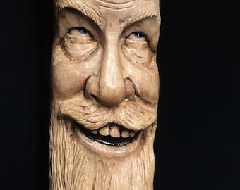 RESERVED for Scott Calmes, Walking Stick Wood Carving