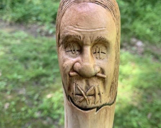 SALE New Year Shrunken Head, Walking Stick, by Josh Carte, Wood Carving, Dark Art, Voodoo, Carving of a Face, Handmade Woodworking