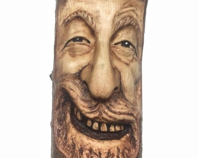 20% Off Sale Wood Spirit Carving, Wooden Sculpture, Hand Carved, by Josh Carte, Perfect Wood Gift, Handmade Woodworking, OOAK Wood Art, Face