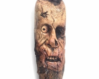 20% Off Sale Zombie, Wood Carving, Wood Art, by Josh Carte, Made in Ohio, Wood Sculpture, Chainsaw Carving, Hand Carved Wood Art, Creepy, Sp