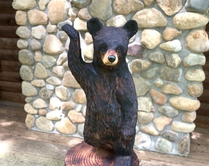 25% Off Sale Bear Chainsaw Carving, Wooden Bear Sculpture, Black Bear Carving, Bear Art, by Josh Carte, Wood Carving, Hand Carved Wood Art