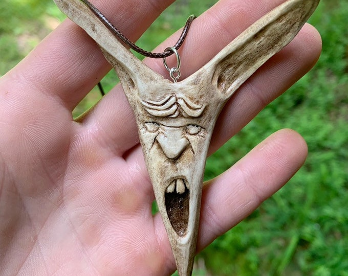 Bone Carving, Bone Pendant, Deer Antler Pendant, Antler Art, Bone Necklace, by Josh Carte, Hand Carved Art, Made in Ohio