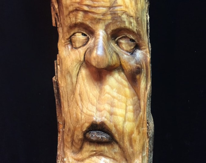 Wood Carving, Wood Carving of a Face, Wooden Sculpture, Wood Spirit Carving, Hand Carved Wood Art, by Josh Carte