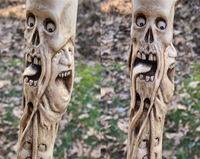 Walking Stick, Wood Carving, Macabre Art, Dark Art Carving, Hand Carved Wood Art, by Josh Carte, Skull, Hiking Stick, Made in Ohio