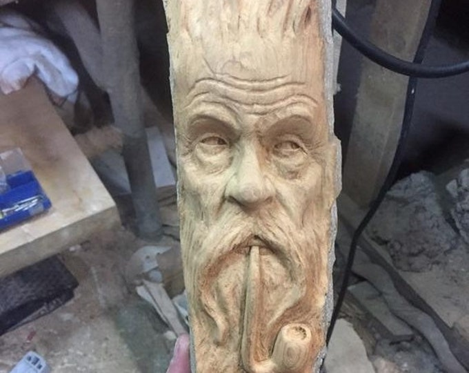 SALE New Year Wood Carving, Pipe Smoker, Chainsaw Carving, Wood Spirit Carving, Made in Ohio, by Josh Carte, Hand Carved Wood