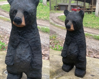 Bear Chainsaw Carving, Carved Black Bear, Wooden Bear, Wood Carving, Hand Carved Wood Art, by Josh Carte, Made in Ohio