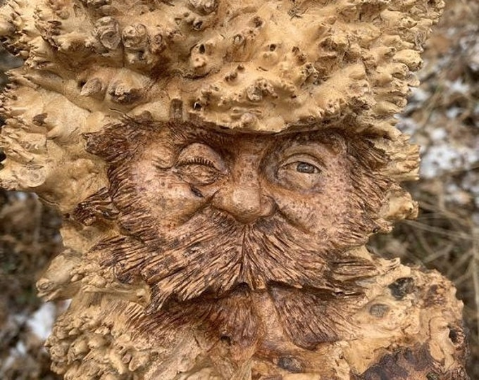 20% Off Sale Wood Carving, Hand Carved Wood Art, Pipe Smoker, Carving of a Face, by Josh Carte, Handmade Woodworking, Made in Ohio