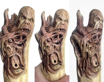 25% Off Sale Walking Stick, Wood Carving, Dark Art, Skull Wood Carving, by Josh Carte, Macabre Wood Art, Hiking Stick, Evil Art, Creepy Art,
