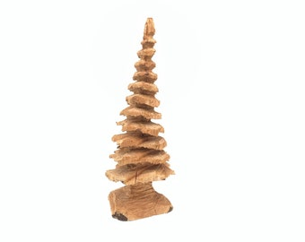 Christmas Tree, Chainsaw Carving, Hand Carved Wood Art, by Josh Carte, Wood Carving, Tree Sculpture, Carving of a Tree