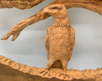 Eagle Wood Carving, Chainsaw Carving, Chainsaw Art, Eagle Sculpture, by Josh Carte, Hand Carved Wood Art