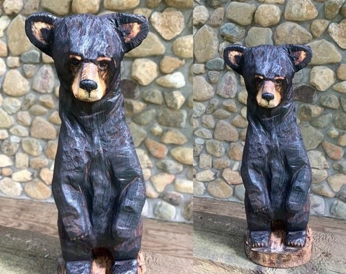 Halloween SALE Bear Chainsaw Carving, Bear Wood Carving, Black Bear, Bear Wood Art, Chainsaw Art, by Josh Carte, Hand Carved Wood Art