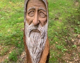 Wood Carving, Wizard Carving, Cottonwood Bark Carving, by Josh Carte, Made in Ohio, Old Man with Beard, OOAK Wood Wall Art, Handmade