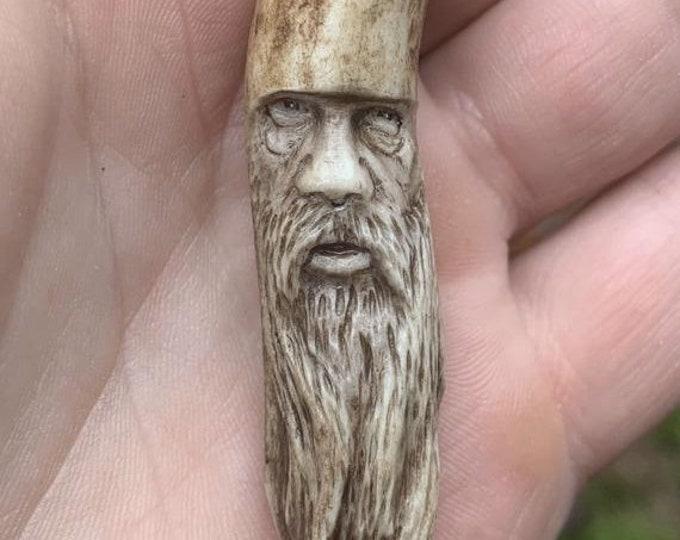 20% Off Sale Bone Carving, Bone Jewelry, Antler Pendant, Deer Antler Art, Hand Carved Bone Art, Bone Necklace, by Josh Carte