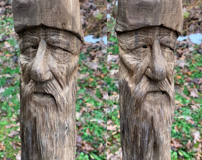 Wood Carving, Driftwood Art, Wood Wall Art, Wood Spirit Carving, Handmade Woodworking, by Josh Carte, Carving of a Face, Unique Art