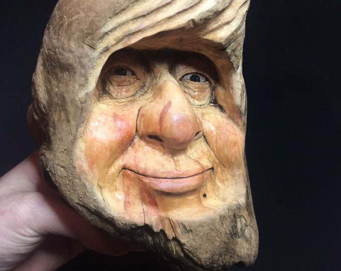Wood Spirit Carving, Wooden Face Carving, Wood Wall Art, Hand Carved Art, by Josh Carte, Perfect Wood Gift, Chainsaw Carving