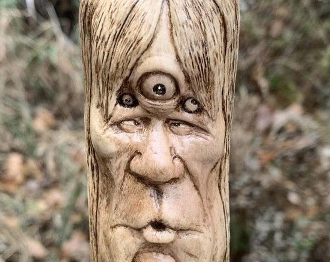 SALE New Year Walking Stick, Wood Carving, Carving Of A Face, Hand Carved Wood Art, By Josh Carte, Wood Spirit Carving, Hiking Stick, Wood C