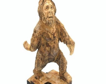 20% Off Sale Bigfoot Wood Carving, Sasquatch Chainsaw Carving, Yeti sculpture, Hand Carved Wood Art, by Josh Carte, Made in Ohio, Bigfoot Ar