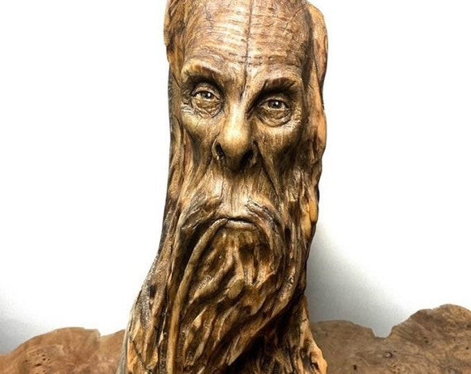 SUMMER SALE Bigfoot Carving, Wood Carving, Carving of Sasquatch, Carving of a Face, Pipe Smoker, by Josh Carte, Made in Ohio, Bigfoot Sculpt
