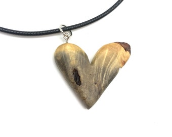 Heart Wood Carving, Carving of a Heart, Heart Necklace, Heart Pendant, by Josh Carte, Buckeye Heart, Heart Necklace for Her
