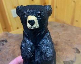 Bear Chainsaw Carving, Mini Bear, Bear Wood Carving, Black Bear sculpture, Hand Carved Wood Art, by Josh Carte, Wooden Bear, Log Home Decor