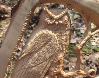 Owl, Wood Carving, Hand Carved, Wall Art Sculpture, Wall Plaque, Handmade Woodworking, Original Art, Wood Gift for Him, by Josh Carte, Ohio