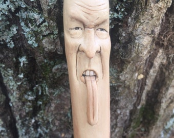 Walking Stick, Wooden Walking Stick, Hiking Stick with Carving, Made in Ohio, Face Carving, Wood Spirit Carving, Hand Carved Art