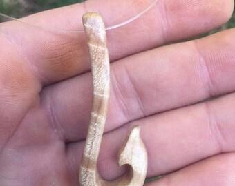 SUMMER SALE Fish hook pendant, fishing necklace, fishing line necklace, hand carved fish hook, gift for fishermen