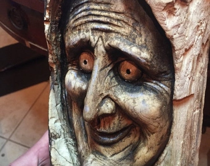 SALE New Year Spooky Wood Carving, Perfect for Halloween, Creepy Wood Sculpture, Wall Art Decor by Josh Carte, Handmade Woodworking, Chainsa