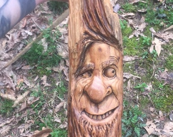 Halloween SALE Wood Carving, Wood Spirit Carving, Carving of a Face, Chainsaw Carving, made in Ohio, by Josh Carte, Handmade Woodworking, Ha