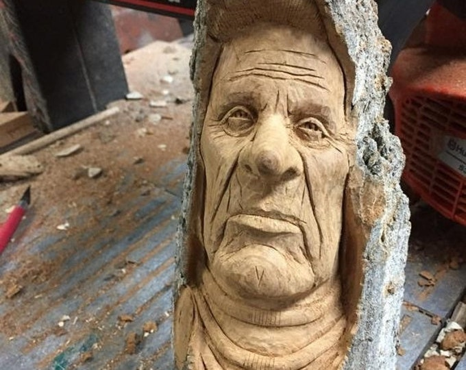 SALE New Year Creative Wood Carving, Amazing Indian Carving, Beautiful Art by Sculptor, Chainsaw Carving, by Josh Carte, Log Home Decor, Per