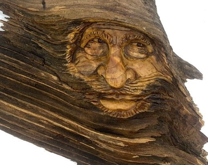 Wood Spirit Carving, Unique Wood Art, Perfect Wood Gift, Wood Wall Art, by Josh Carte, Handmade Woodworking, Carving of a Face, Made in Ohio