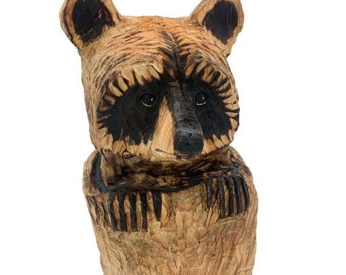 Halloween SALE Raccoon Chainsaw Carving, Hand Carved Wood Art, Handmade Woodworking, Carving of a Raccoon, by Josh Carte, Made in Ohio, Rust