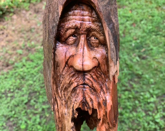 Wood Carving, Wood Spirit Carving, Wood Wall Art, Hand Carved Wood Art, by Josh Carte, Made in Ohio, Unique Wood Sculpture, Wood Gift