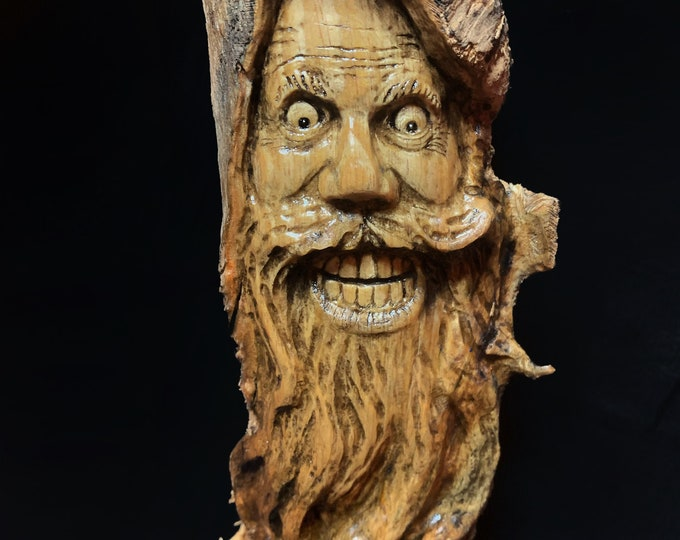 Wood Carving, Wood Spirit Carving, Wood Wall Art, Hand Carved Wood Art, by Josh Carte, Made in Ohio, Carving of a Face