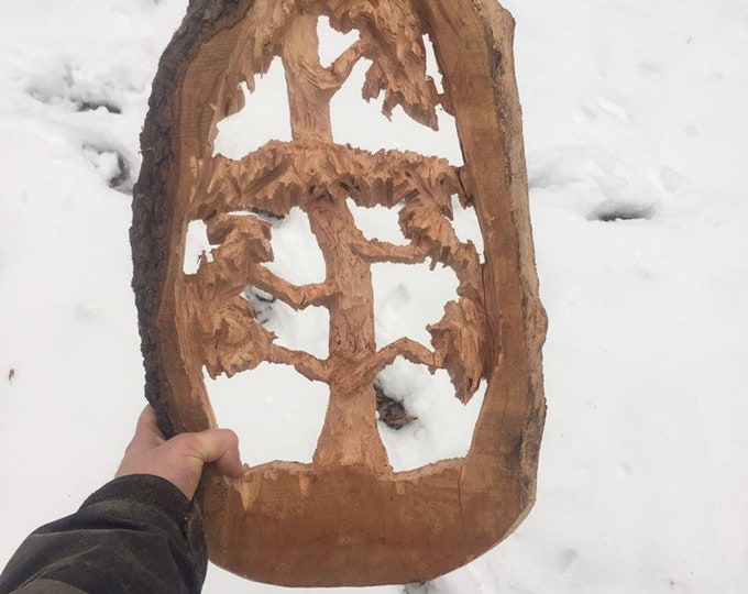 Tree Wood Carving, Chainsaw Carving, by Josh Carte, Very Unique Gift, Hand Carved Wood Art, Made in Ohio, Fantastic Chainsaw Art