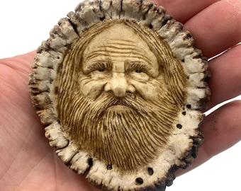 Elk Antler Carving, Bone Pendant, Hand Carved Bone Art, by Josh Carte, Antler Art, Mountain Man, Bone Jewelry, OOAK Carving, Carving a Face