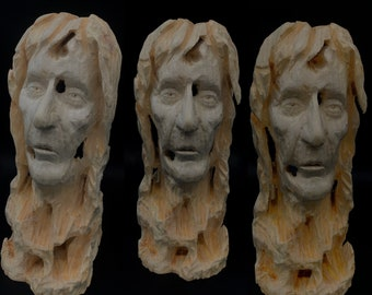 Chainsaw Carving, Wood Carving, Carving of a Face, Hand Carved Wood Art, Unique Sculpture, by Josh Carte, Chainsaw Art, Bust Carving, Art