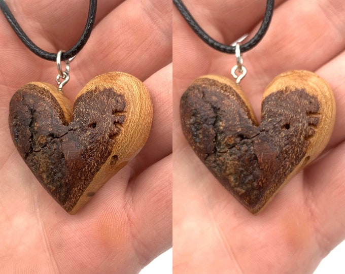 Heart Necklace, Wood Heart Carving, Cherry Heart, Wood Carving, Heart Pendant, Handmade Woodworking, Wood Jewelry, by Josh Carte