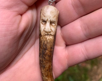 Bone Carving, Stag Antler, Bone Pendant, Antler Art, Antler Jewelry, by Josh Carte, Antler Pendant, Hand Carved Art, Scrimshaw, Natural Art