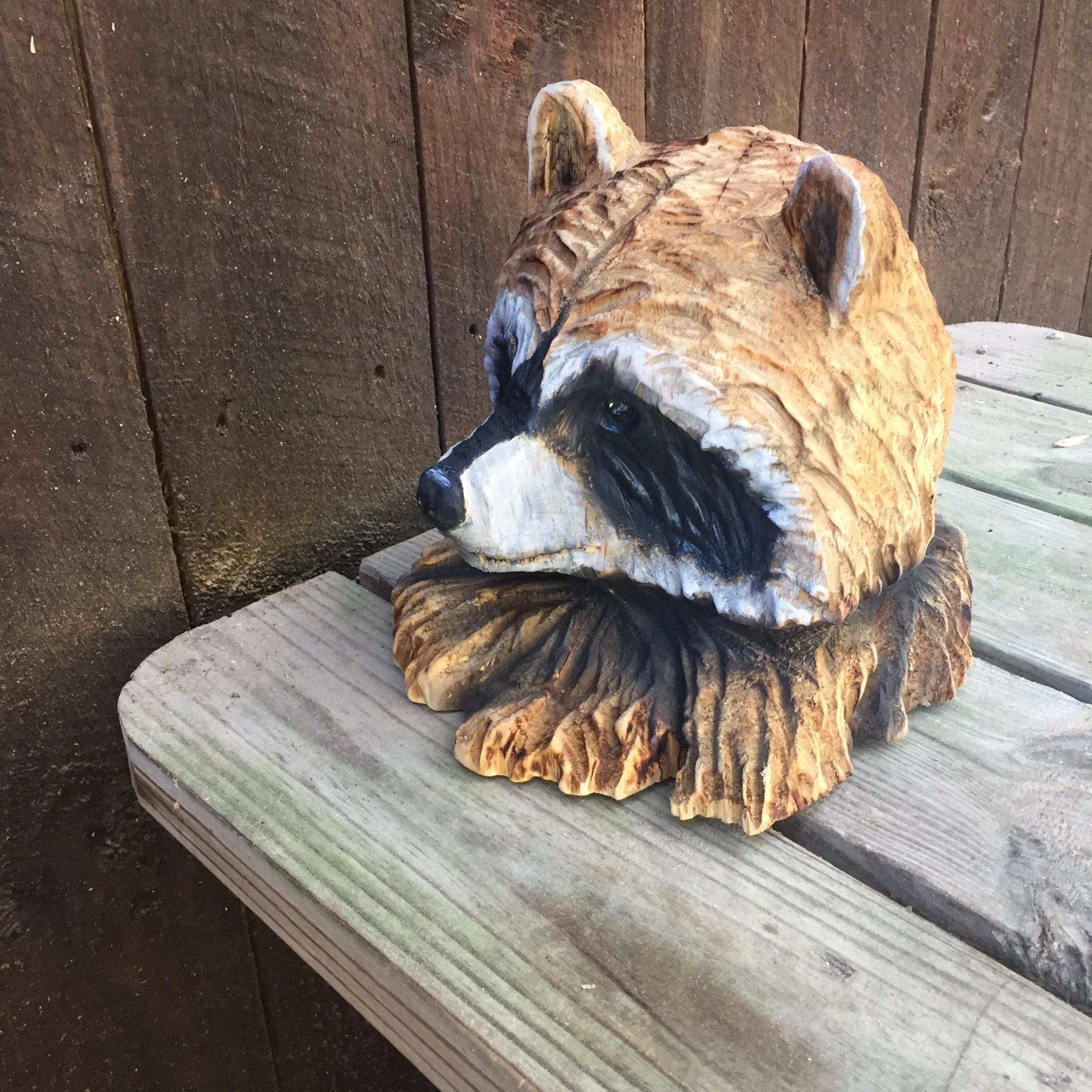 Raccoon wood carving chainsaw carving rustic decor wood gift for
