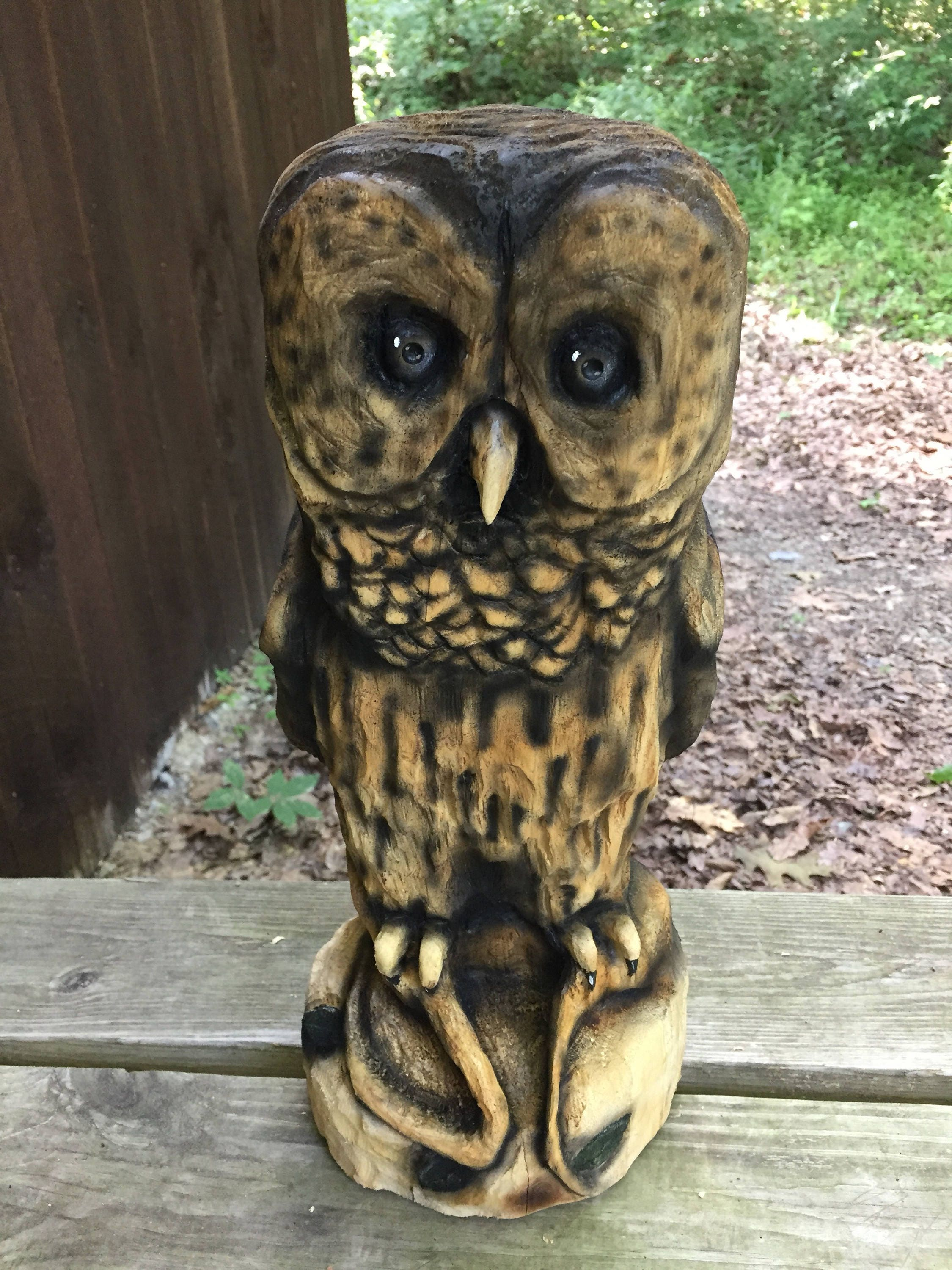Owl chainsaw carving wood carving hand carved wood art by josh