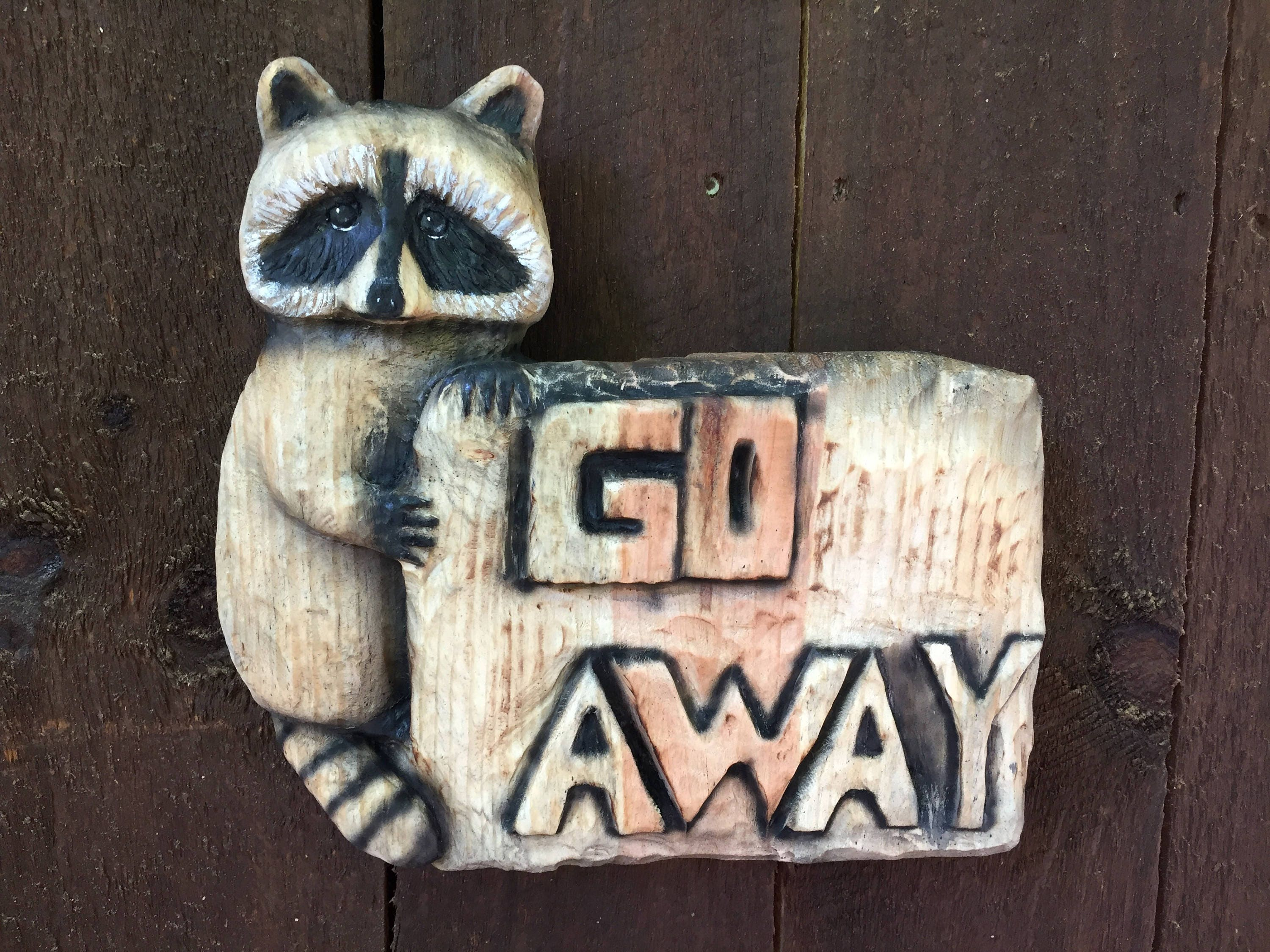 Sign chainsaw carving raccoon wood carving hand carved by