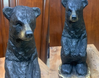 Bear Chainsaw Carving, Black Bear Wood Carving, Wooden Bear, Hand Carved Wood Art, Bear Statue, by Josh Carte, Chainsaw Art, Log Home Decor