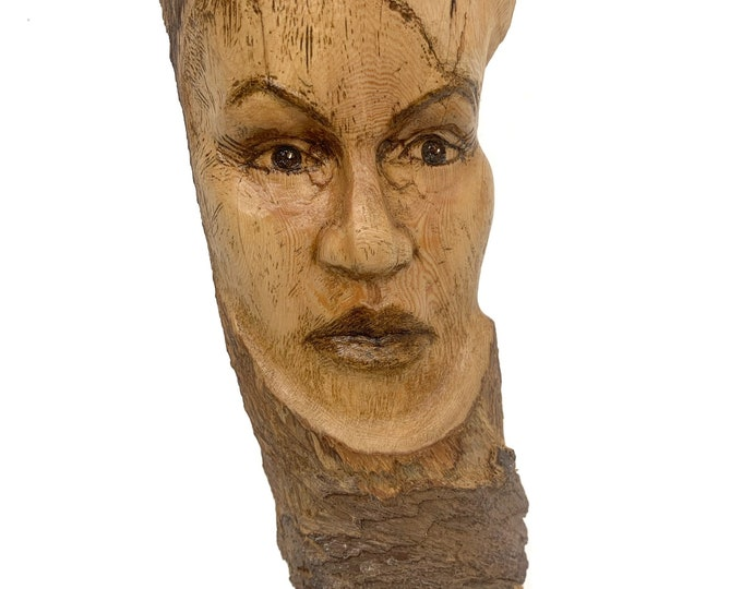 Female Face Wood Carving, Wood Spirit Carving, Wood Wall Wall, by Josh Carte, Hand Carved Wood Art, Made in Ohio, Girl, Lady, Unique Wood