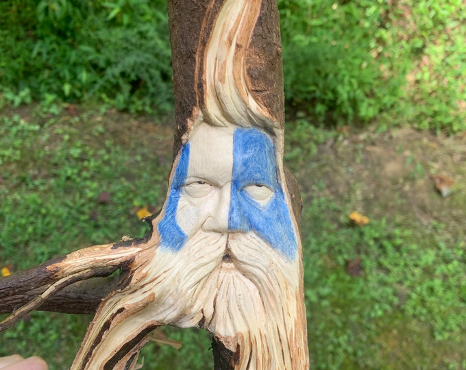Wood Carving, Warrior Carving, Wood Spirit Carving, Dogwood Root, Hand Carved Wood Art, by Josh Carte, Wood Wall Art, Perfect Wood Gift